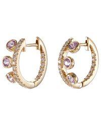 Khai Khai - 'crown Huggies' Diamond Sapphire 18k Yellow Gold Hoop Earrings - Lyst