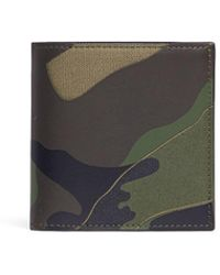 Valentino - Camouflage Print Leather And Canvas Bifold Wallet - Lyst