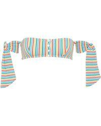 Solid & Striped - 'the Mackenzie' Tie Stripe Seersucker Off-shoulder Bikini Top - Lyst
