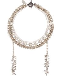 Venna - Glass Crystal Faux Pearl Multi Chain Necklace - Lyst