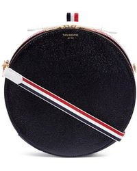 Thom Browne - Stripe Pebble Grain Leather Crossbody Hat Box Bag - Lyst