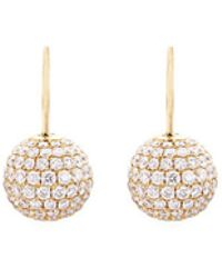 Shamballa Jewels - Diamond 18k Gold Sphere Drop Earrings - Lyst