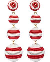 Kenneth Jay Lane - Stripe Threaded Sphere Clip Drop Earrings - Lyst