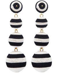 Kenneth Jay Lane - Stripe Threaded Sphere Drop Clip Earrings - Lyst