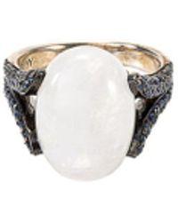 John Hardy - 'celestial Orb' Sapphire Rainbow Moonstone Silver Ring - Lyst