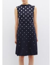 Oscar de la Renta - Scalloped Polka Dot Jacquard Knit Dress - Lyst