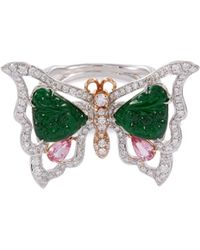 LC COLLECTION - Diamond Sapphire Jade 18k Gold Butterfly Ring - Lyst