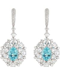 LC COLLECTION - Diamond Paraiba 18k White Gold Drop Earrings - Lyst
