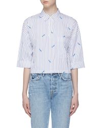 Kule - 'the Keaton' Slogan Embroidered Stripe Cropped Shirt - Lyst
