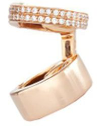 Repossi   'berbère' Diamond Pavé 18k Rose Gold 2-hoop Single Ear Cuff   Lyst