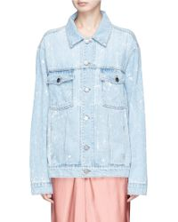 Madegold - 'strike' Slogan Print Denim Jacket - Lyst