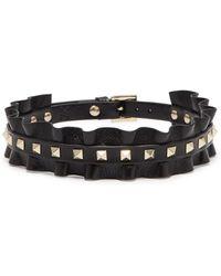 Valentino - 'rockstud' Ruffle Leather Choker - Lyst