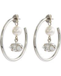 Joomi Lim - Faux Pearl Glass Crystal Charm Hoop Earrings - Lyst