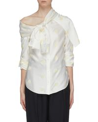 Hellessy 'leandra' Knot Panel Bee Embroidered One-shoulder Shirt - White