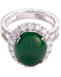 LC COLLECTION   Diamond Jade 18k Gold Scalloped Ring   Lyst