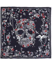 Alexander McQueen - 'pearl Skull' Print Modal-wool Scarf - Lyst