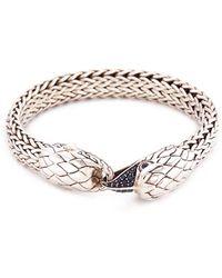 John Hardy - Sapphire Chalcedony Silver Eagle Woven Chain Bracelet - Lyst