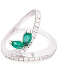 FerrariFirenze - 'blues' Diamond Emerald Split Shank Leaf Ring - Lyst