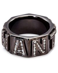 Lynn Ban - 'i Want You' Diamond Rhodium Silver Ring - Lyst