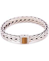 John Hardy - Tiger's Eye Stone Silver Weave Effect Link Chain Bracelet - Lyst