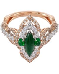 LC COLLECTION - Diamond Jade 18k Gold Marquise Ring - Lyst