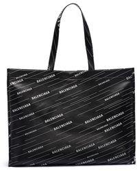 Balenciaga - 'market Shopper' Logo Print Leather Tote - Lyst