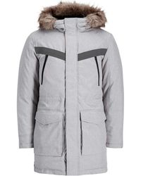 Jack & Jones - Core Parka With Faux Fur Hood And Hand Warmer Pockets - Lyst