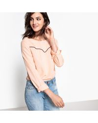 La Redoute - V-neck Blouse With Contrast Piping - Lyst