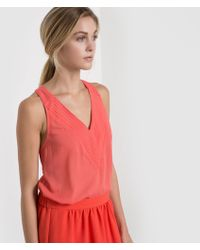 Color Block - Sleeveless V-neck Top With Fringe Detail - Lyst