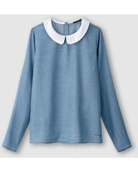 School Rag - Charize Peter Pan Collar Shirt With Back Button Fastening - Lyst