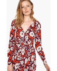 La Redoute - Floral Print Wrapover Dress With Gathered Waist - Lyst