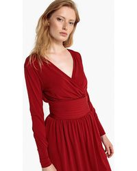 La Redoute - Midi Wrapover Dress With Gathered Waist And Side Zip - Lyst