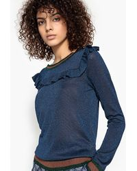 Suncoo - Pascal Metallic Sweatshirt With Ruffles - Lyst