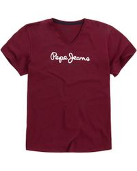 Pepe Jeans - Eggo 100% Cotton Short-sleeved V-neck T-shirt - Lyst