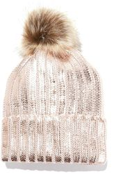 La Redoute - Metallic Knit Bobble Hat - Lyst
