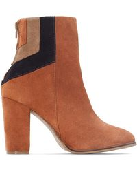 La Redoute - Leather Ankle Boots With Geometric Detail - Lyst