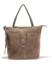 La Redoute - Embroidered Suede Shopper - Lyst