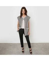 Vila - Printed Fringed Gilet With Pockets - Lyst