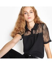 School Rag - Blouse With Lace Panel - Lyst