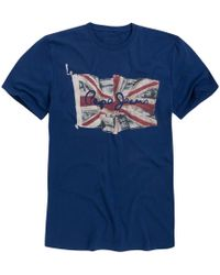 Pepe Jeans - Short-sleeved Crew Neck T-shirt With Print On Front - Lyst