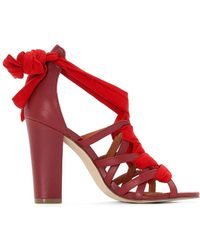 La Redoute - High Heeled Leather Sandals With Tie Fastening - Lyst