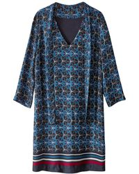 La Redoute - Mix Print Dress With Pussy Bow - Lyst
