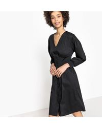 La Redoute - Flared Button-through Dress With Elasticated Waist - Lyst