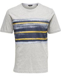 Only & Sons - Short-sleeved Striped Crew Neck T-shirt - Lyst