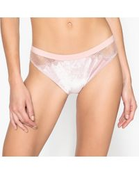 La Redoute - Embroidered Tulle And Velour Briefs - Lyst