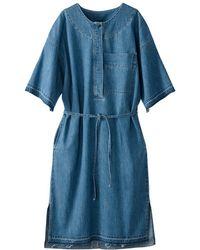 La Redoute - Vestido abotonado de denim light, con cordón para - Lyst