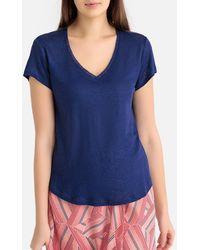 IKKS - Camiseta de lino con cuello de pico y manga corta - Lyst