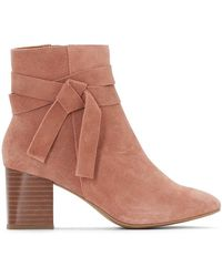 La Redoute - Leather Ankle Boots With Bow Detail - Lyst