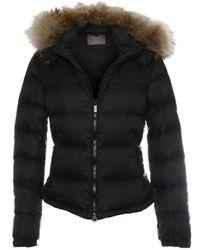 Daniel - Black Fur Trim Hooded Short Jacket - Lyst