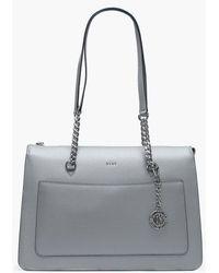DKNY - Large Char Grey Melange Leather Top Zip Tote Bag - Lyst